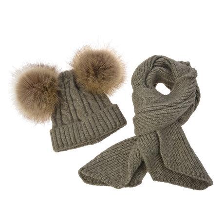 Muts en sjaal set voor kinderen (1 -3 jaar) 15*120 cm Grijs | MLSCCAP0001G | Clayre & Eef