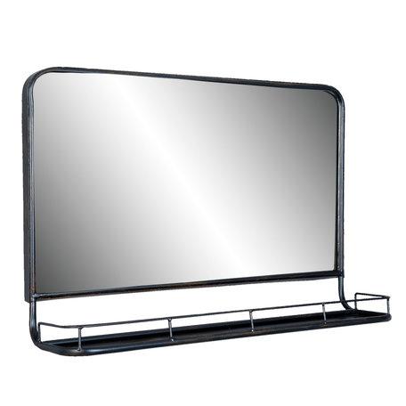 Spiegel met schap 60*15*40 cm Zwart   52S097   Clayre & Eef
