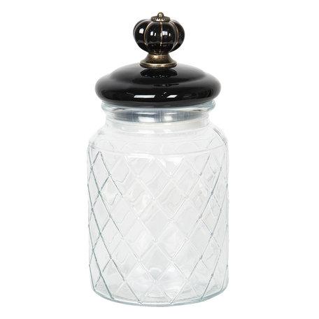 Voorraadpot met deksel ø 10*21 cm / 900 ml Transparant | 6GL2410L | Clayre & Eef