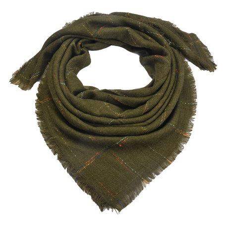 Sjaal 130*130 cm Groen   MLSC0322DGR   Clayre & Eef