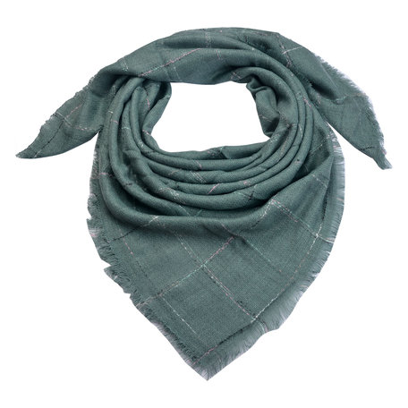 Sjaal 130*130 cm Groen   MLSC0322GR   Clayre & Eef