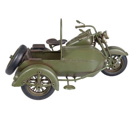 Model motor met zijspan 31*19*17 cm Groen   6Y2538   Clayre & Eef