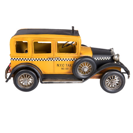 Model auto taxi 32*15*15 cm Geel   6Y2542   Clayre & Eef