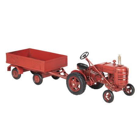 Model tractor met aanhangwagen 17*10*12 cm / 23*10*8 cm Rood | 6Y2967 | Clayre & Eef
