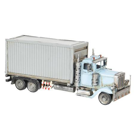 Model vrachtauto met container 29*10*12 cm Blauw   6Y2969   Clayre & Eef