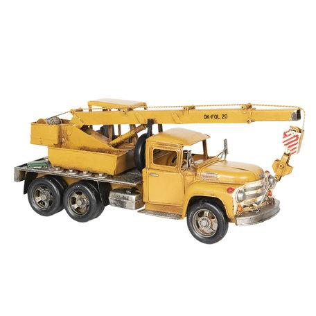 Model kraanwagen 46*13*19 cm Geel   6Y2972   Clayre & Eef