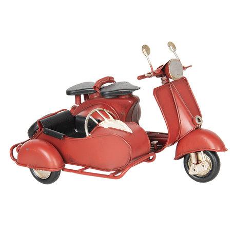 Model motor met zijspan 18*13*12 cm Rood   6Y2962   Clayre & Eef