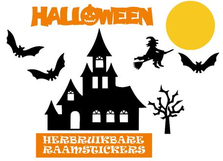 Raamstickerset herbruikbaar Halloween huis vleermuizen & heks | Rosami
