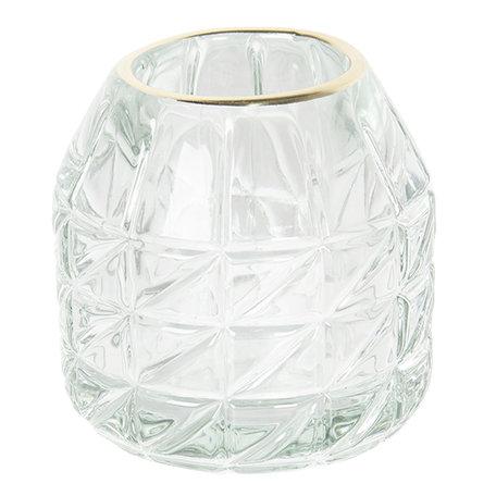 Waxinelichthouder ø 9*9 cm Transparant | 6GL2447 | Clayre & Eef