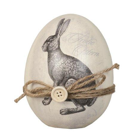 Decoratie ei met konijn ø 12*14 cm Meerkleurig | 6PR0515 | Clayre & Eef