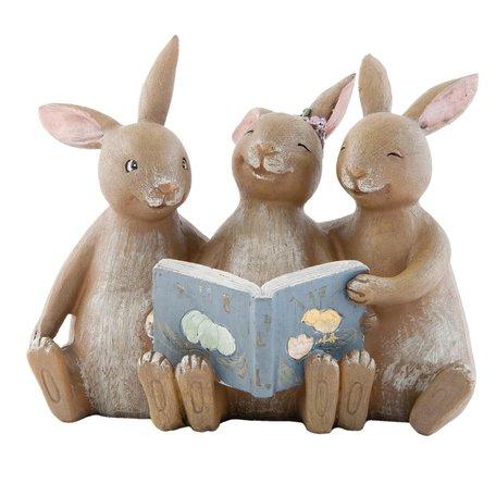 Decoratie konijnen met boek 14*10*12 cm Bruin | 6PR0695 | Clayre & Eef