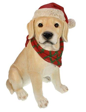 Labrador beeld met kerstmuts 32x25x41 cm | Meander