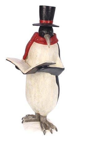 Pinguin beeld met boek rode sjaal 17x19x46cm   Meander