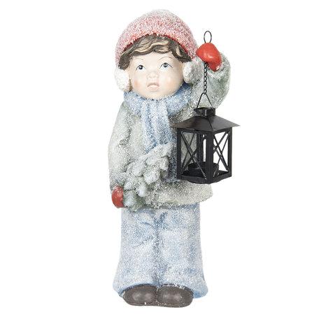 Decoratie kind met lantaarn 19*19*42 cm Meerkleurig | 6CE1000 | Clayre & Eef