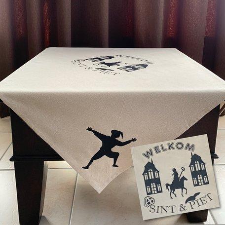 Tafelkleed katoen welkom Sint & Piet 100 x 100 | Rosami | Sinterklaas