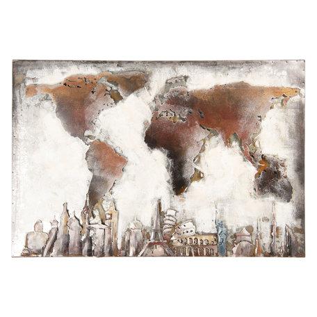 Wanddecoratie wereldkaart 90*4*60 cm Bruin | 5WA0143 | Clayre & Eef
