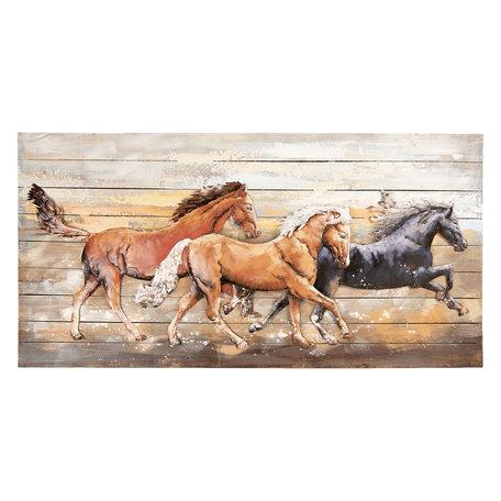 Wanddecoratie paarden 140*70*8 cm Multi | 5WA0145 | Clayre & Eef