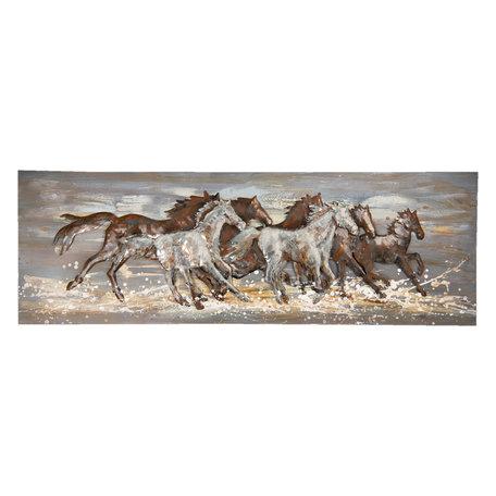 Wanddecoratie paarden 150*5*50 cm Multi | 5WA0154 | Clayre & Eef