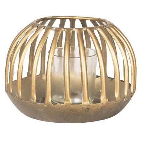 Windlicht ø 15*10 cm Goudkleurig | 6Y3356 | Clayre & Eef