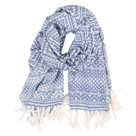Sjaal 90*170 cm Blauw | JZSC0422 | Clayre & Eef