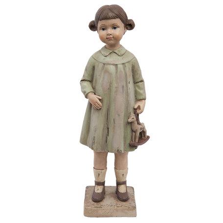 Decoratie beeld meisje 8*6*23 cm Bruin | 6PR1163 | Clayre & Eef