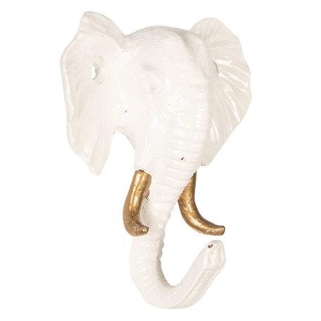 Wandhaak olifant 8*3*9 cm Wit   6Y3369   Clayre & Eef