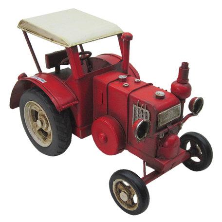 Model tractor 17*9*10 cm Rood   JJTR0004   Clayre & Eef
