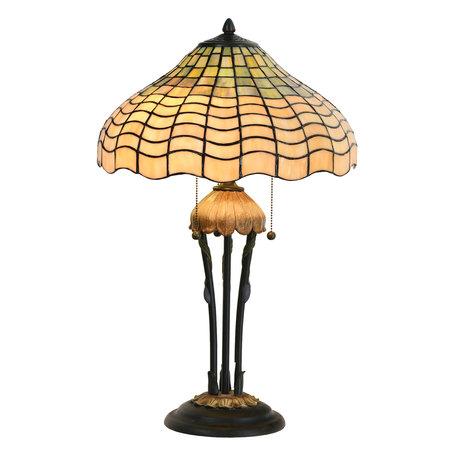 Tafellamp Tiffany ø 40*60 cm E27/max 3*60W Meerkleurig | 5LL-5974 | Clayre & Eef