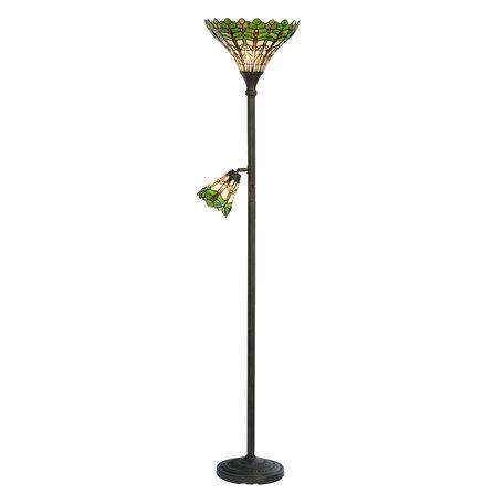 Vloerlamp Tiffany ø 36*188 cm E27/max 1*100W E14/max 1*25W Meerkleurig | 5LL-5977 | Clayre & Eef