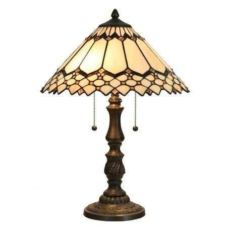 Tafellamp Tiffany ø 40*55 cm E27/max 2*60W Meerkleurig | 5LL-5978 | Clayre & Eef
