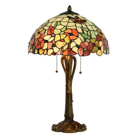 Tafellamp Tiffany ø 40*63 cm E27/max 2*60W Meerkleurig | 5LL-5981 | Clayre & Eef