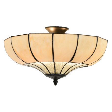 Plafondlamp Tiffany ø 46*25 cm E27/max 2*60W Beige | 5LL-5982 | Clayre & Eef