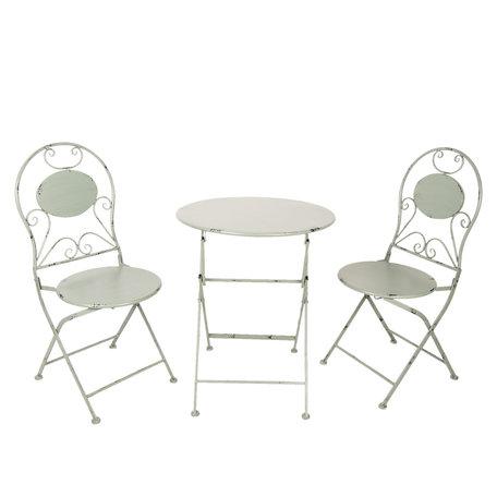 Bistroset tafel + 2 stoelen ø 60*70 / 40*40*92 cm (2) Grijs | 5Y0631 | Clayre & Eef