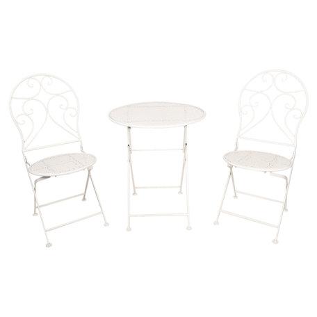 Tafel + 2 stoelen ø 60*70 / 2x ø 40*40*92 cm Wit | 5Y0632 | Clayre & Eef