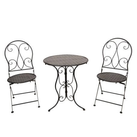 Bistroset tafel + 2 stoelen ø 60*70 / 40*40*92 cm (2) Zwart | 5Y0634 | Clayre & Eef
