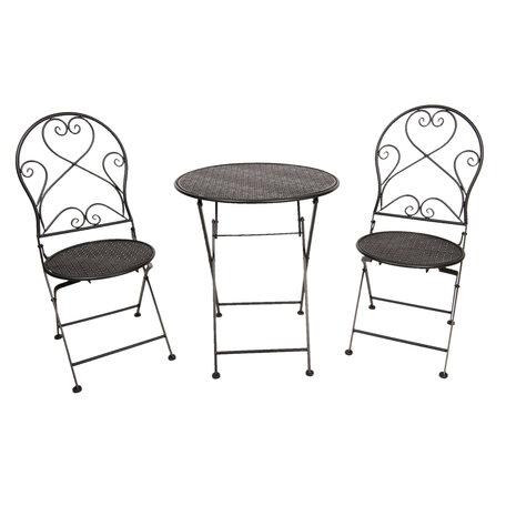Tafel + 2 stoelen ø 60*70 / 2x ø 40*40*92 cm Zwart | 5Y0635 | Clayre & Eef