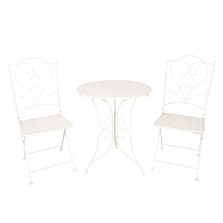 Tafel + 2 stoelen ø 60*70 / 2x ø 40*40*92 cm Wit | 5Y0637 | Clayre & Eef