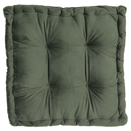 Kussen met foam 45*45*8 cm Groen | KT029.040DGR | Clayre & Eef