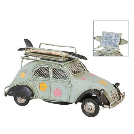 Model auto / Spaarpot / Fotolijst 16*7*11 cm / 5*4 cm Groen | 6Y1198 | Clayre & Eef