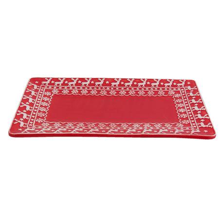 Schaal 30*18*2 cm Wit/rood | XPS | Clayre & Eef