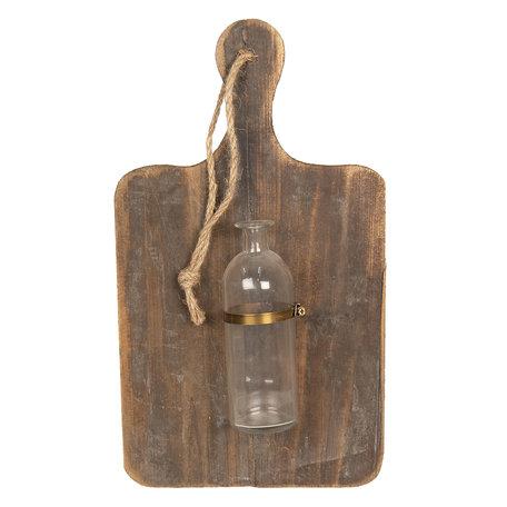 Decoratie broodplank met vaas 27*6*47 cm Bruin | 64302 | Clayre & Eef
