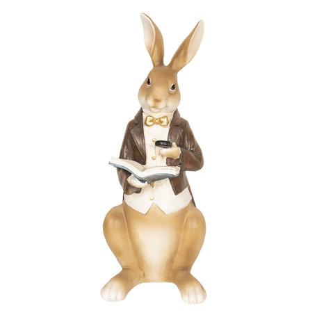 Decoratie konijn lezend 15*13*40 cm Multi | 6PR2600 | Clayre & Eef