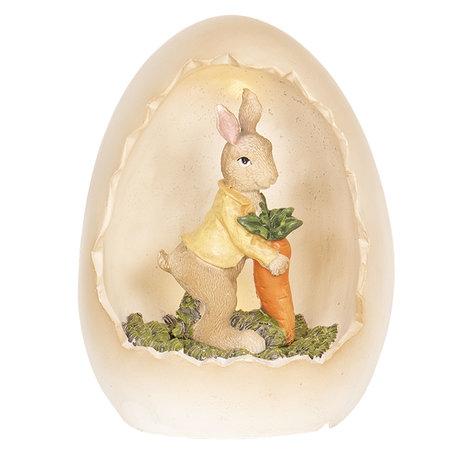 Decoratie konijn in ei 12*11*15 cm Meerkleurig | 6PR2597 | Clayre & Eef
