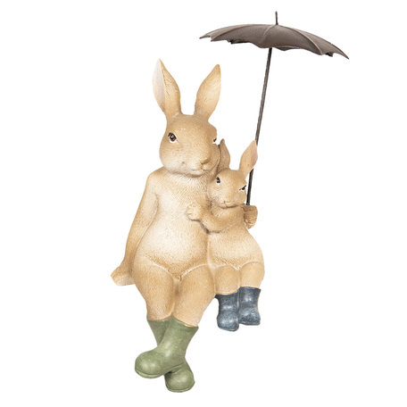 Decoratie zittende konijnen onder paraplu 10*9*19 cm Meerkleurig | 6PR2598 | Clayre & Eef