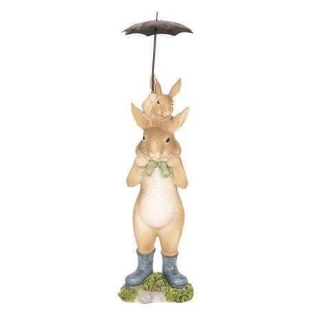 Decoratie konijnen onder paraplu 8*7*25 cm Multi | 6PR2599 | Clayre & Eef