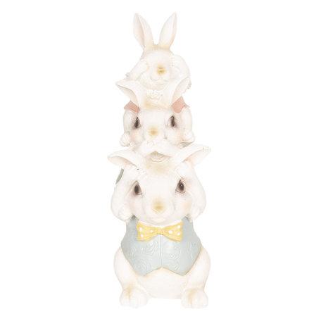 Decoratie konijnen 10*9*25 cm Meerkleurig | 6PR2605 | Clayre & Eef