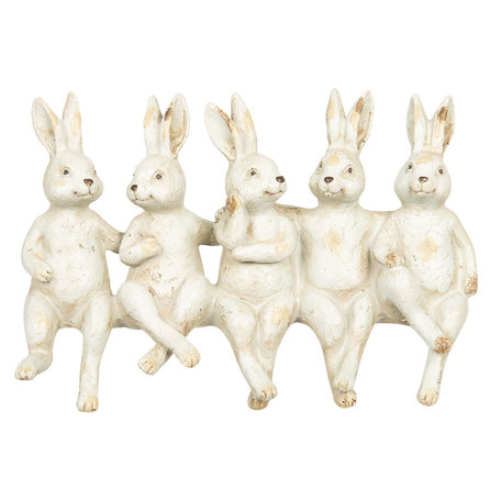 Decoratie zittende konijnen 20*7*13 cm Meerkleurig | 6PR2608 | Clayre & Eef
