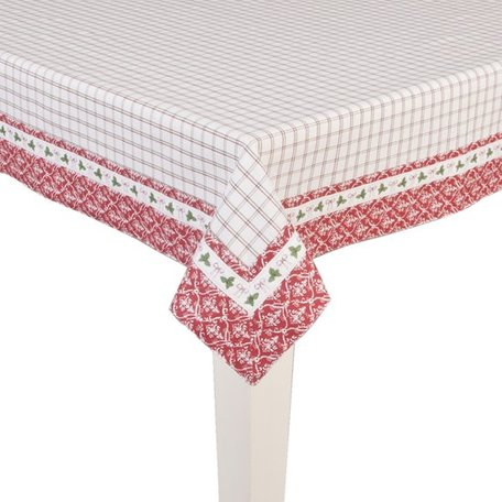Tafelkleed 150*250 cm wit rood groen | NCT05 | Clayre & Eef
