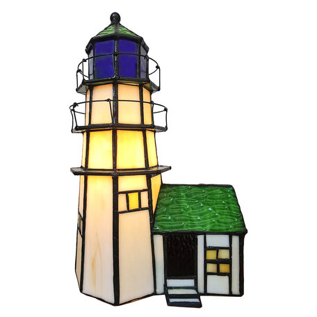 Tafellamp Tiffany 15*15*25 cm E14/max 1*25W Meerkleurig | 5LL-6007 | Clayre & Eef