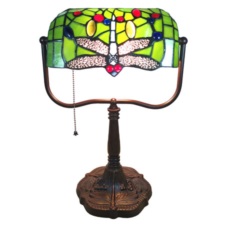 Bureaulamp Tiffany 25*25*42 cm E27/max 1*60W Meerkleurig | 5LL-6012 | Clayre & Eef